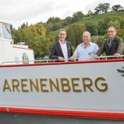 Die MS Arenenberg auf ihrer Fahrt in die URh-Werft in Langwiesen. Am Steuer Kapitän Urs Thaler. (Bild: Donato Caspari)