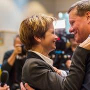 2015 gemeinsam im Amt bestätigt: die beiden Thurgauer Ständeräte Brigitte Häberli und Roland Eberle. (Bild: Andrea Stalder (18. Oktober 2015)