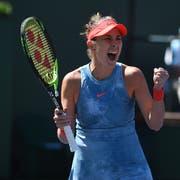 Ballt die Faust nach ihrem Sieg über die Weltnummer Eins Naomi Osaka in Indian Wells: Belinda Bencic. (Bild: Omid Davarian/freshfocus, 12. März 2019)