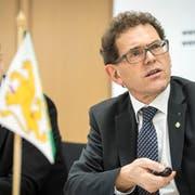 Finanzchef Urs Meierhans und Regierungsrat Jakob Stark stellen das Budget 2019 und den Finanzplan 2020 bis 2022 des Kantons Thurgau vor. (Bild: Reto Martin)