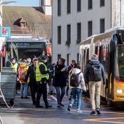 Tote Hose: Am Bahnhof Hergiswil ist für Zugreisende rund einen Monat lang Endstation. (Bild: David von Moos, Hergiswil, 18. März 2019)