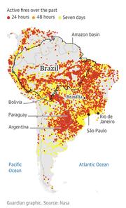 Die Grafik der Zeitung The Guardian zeigt die Waldbrände in Brasilien. (Bild: The Guardian/Nasa)