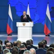 Wladimir Putin während seiner Rede am Mittwoch in Moskau. (Bild: Alexey Nikolsky/EPA)