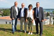 Die Stadträte Ernst Zülle, Thomas Beringer, Dorena Raggenbass sowie Stadtpräsident Thomas Niederberger ziehen als Team in den Wahlkampf. (Bild: Urs Brüschweiler)