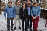Stehen für den grünen Aufschwung zusammen: Didi Feuerle, Simon Vogel, Regula Rytz, Kurt Egger, Sandra Reinhart. (Bild: Sebastian Keller)