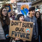Schülerinnen streiken in St.Gallen für eine andere Klimapolitik. (Bild: Michel Canonica)
