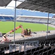 Zwei Wochen vor dem Fest steht die Arena weitgehend. (Bild: Andy Mettler / Swiss-Image)