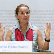 Die Luzerner SVP-Nationalrätin Yvette Estermann bei der Lancierung einer ihrer aktuell drei Volksinitiativen. (Bild: Keystone)