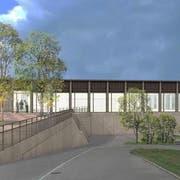 So soll die neue Mehrzweckhalle in St. Erhard dereinst aussehen. (Visualisierung: PD)