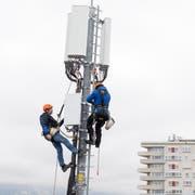 Eine G5-Antenne wird im Kanton Genf installiert. (Bild: KEYSTONE/Martial Trezzini)
