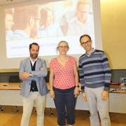 Projektleiter Enzo Schrembs sowie Daniela Hälg und Remo Rusca vom genossenschaftlichen «VillageOffice» begleiten die Ansiedlung eines Coworking-Büros in Kreuzlingen. (Bild: Manuela Olgiati)
