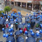 Auf dem Weinfelder Marktplatz beginnt der Flashmob der Thurgauer Spitex-Organisationen. (Bild: PD)