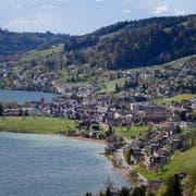 Das «Städtchen am See» als Vision für die Zukunft des Ägeritals. Bild: Stefan Kaiser, Oberägeri, 24. April 2019