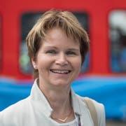 Die Thurgauer Ständerätin Brigitte Häberli-Koller beim Roll-out des Giruno bei Stadler Rail in Bussnang. (Bild: Urs Bucher)