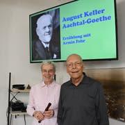 Nelly und Armin Fehr in der Erzählstunde im Ortsmuseum Amriswil. (Bild: Yvonne Aldrovandi-Schläpfer)