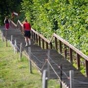 Die St.Galler Treppen sind die direkteste Fussverbindung zwischen der Talsohle sowie den Hängen und Kuppen nördlich und südlich der Stadt. Sie werden im Alltag gerne benutzt, sind für viele aber auch ein beliebtes Sportgerät. Im Bild die Gesstreppe am Dreilindenhang. (Bild: Ralph Ribi - 18. Juli 2019)