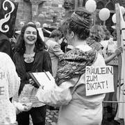 Der letzte Frauenstreik: Am 14. Juni 1991 demonstrierten zahlreiche Frauen auf dem Münsterplatz in Basel. (Bild: key/Michael Kupferschmidt)