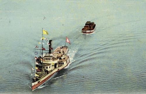 Schleppzug mit Trajektkahn, vermutlich vor Lindau um 1900. (Sammlung: Anton Heer)