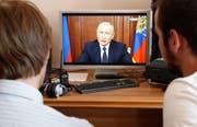 Präsident Wladimir Putin bei einer Ansprache im TV. (Maxim Schipenkow/EPA, Moskau, 29. Juni 2018)