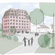 So soll das fünfgeschossige Holzhaus im Geuenseer Dorfzentrum aussehen. (Visualisierung: PD)