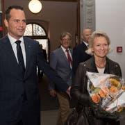 National und Ständeratswahlen am 20. Oktober 2019 im Regierungsgebäude in Luzern.Andrea Gmür und Damian Müller treffen im Regierungsgebäude ein.(Freie Fotografin/Eveline Beerkircher)