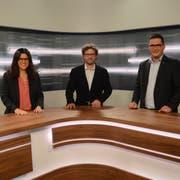 Jennifer Abderhalden, Stefan Schmid und David Zuberbühler im Fernsehstudio von TVO. (Bild: Karin Erni)