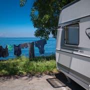 Fahrende haben ihr Lager derzeit neben dem Rorschacher Strandbad aufgeschlagen. (Bild: Benjamin Manser)