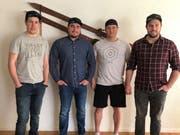 Die vier Toggenburger Pascal Schönenberger, Thomas Wild, Simon Baumann und Björn Schönenberger (von links) werden an der Ski-WM in Are als Helfer im Einsatz stehen.