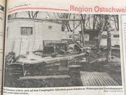 Ein Bild der Verwüstung auf dem Campingplatz in Altenrhein. Der Föhnsturm zerstörte Wohnwagen und Möbel.