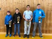 Die Festsieger des Wiler Buebeschwinget, von links: Travis Keiser (Wilen bei Wil), Luca Streuli (Untereggen), Simon Fäh (Benken SG) und Tobias Schönenberger (Kirchberg SG). (Bild: Pascal Schönenberger)