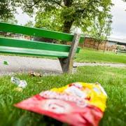 Abfall im Lindenpark in Frauenfeld. (Bild: Andrea Stalder)