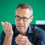 St.Gallens Präsident Matthias Hüppi: «Wir mussten beissen in den vergangenen Tagen.» (Bild: Urs Bucher)