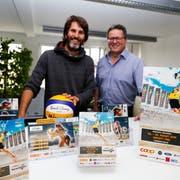 Michi Bleiker (links) und Peter Thoma sind die Wegbereiter für den grössten Rorschacher Sportanlass. (Bild: Rudolf Hirtl)
