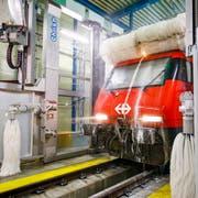 Die neuste Reinigungshalle, die an einen Autowaschanlage erinnert, steht in Brig. (Bild: KEYSTONE/Valentin Flauraud)