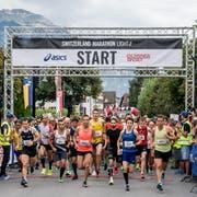 Start Halbmarathon in Sarnen im Bild links: Viktor Röthlin. (Bild: Nadia Schärli, Sarnen, 1. September 2019)