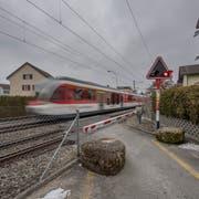 Der Bahnübergang an der Krienser-/Horwerstrasse. Bild: Pius Amrein (Kriens, 22. Februar 2018)