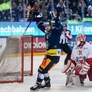 Lino Marschini bejubelt das Zuger 1:0. (Bild: Daniela Frutiger/Freshfocus (Zug, 30. März 2019))