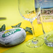Tischdekoration beim Frühlingsfest der SVP in Amriswil. (Bild: Andrea Stalder)