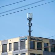 Die Antenne auf dem Bürogebäude «Sankt Leopard» verbreitet mehrere Mobilfunkstandards, darunter 5G. (Bild: Ralph Ribi)