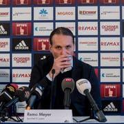 FCL-Sortchef Remo Meyer an der Pressekonferenz nach der Entlassung von Trainer René Weiler. (Bild: Nadia Schärli, 18. Februar 2019)