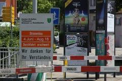 Informationen zum Strassenbau im Neudorf und zu Anlässen in der Stadt St.Gallen (Bild: Reto Voneschen)