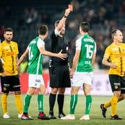 Schiedsrichter Nikolaj Hänni zeigt St. Gallens Milan Vilotic nach einem Notbremse-Handspiel die rote Karte. (Patrick Hürlimann/KEY)