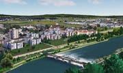Der Reuss-Damm bei Emmen wird etwas weniger hoch als geplant, dank Abstimmung mit dem Renaturierungsprojekt der Kleinen Emme. Trotzdem ist der Hochwasserschutz gewährleistet. (Illustrationen: PD)