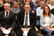 Die drei Kandidierenden fürs Märstetter Gemeindepräsidium: Andreas Zuber, Werner Scherer und Susanne Vaccari-Ruch. (Bild: Werner Lenzin)