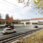 Neben der alten Weberei grenzt eine Coop-Tankstelle an die Migros-Filiale. (Bild: Donato Caspari (November 2018))