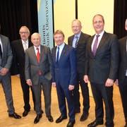 Zufriedene Gesichter beim Verwaltungsrat der Clientis Bank (von links): Thomas Mesmer, Ernst Dobler, Heinz Güttinger, Heinz Jost, Dieter Wepf, Ralph Wyss und Adrian Müller. Bild: Bea Näf