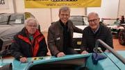 Formel-1-Chef-Mechaniker Peter Wiederkehr, Stadtpräsident Anders Stokholm und Rennfahrer Eugen Strähl. (Bild: Margrith Pfister-Kübler)