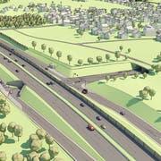 Die Visualisierungen zeigen, wie der A1-Zubringer und die neue Kantonsstrasse dereinst aussehen sollrn. Hier im Bild das Portal Süd des neuen geplanten Tunnels Hohrein in Goldach. (Visualisierung: PD)