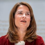 Petra Gössi, Nationalrätin und Parteipräsidentin FDP spricht an der Medienkonferenz der FDP Schweiz über die Nachfolge von Bundesrat Johann Schneider-Ammann (KEYSTONE/Patrick Huerlimann (Bern, 26. September 2018))