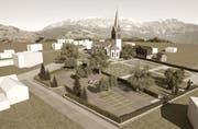 Bei der Kirche/dem Friedhof sollen 65 neue Parkplätze entstehen. (Visualisierung: atm3)